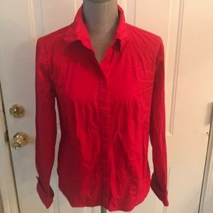 Chadwicks Womens Red Long Sleeve Button Down Top